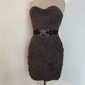 || TED BAKER || chiffon ruffle strapless dress